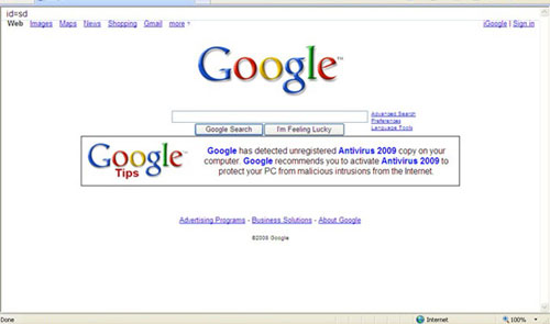 Google falso Antivirus 2009