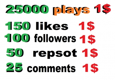 25000 soundcloud plays or 150 likes or 50 repost or 100 soundcloud followers 25 comments within 24 hour