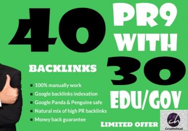40 PR9 Backlinks and 30 .Edu/.Gov Backlinks only