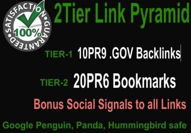 Create 2 Tier Link Pyramid using 10PR9 Gov Domains with 20 PR6 Social Bookmarks