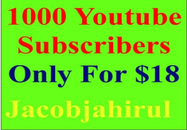 Provide You 1000+ High Quality Real & Active YouTube Like