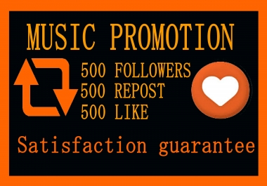 Music Promotion 500 Like Or 500 Repost Or 200 HQ Custom Comments Or 500 Followers