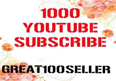 1000 Y0U TUBE Subscriber nondrop fast delivery