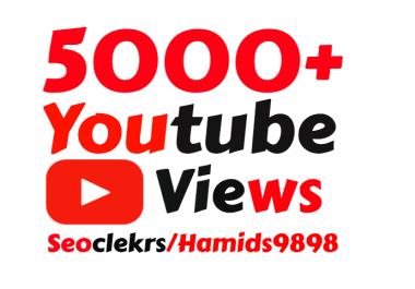 I will add Slow 5000+ High Quality YouTube vie ws