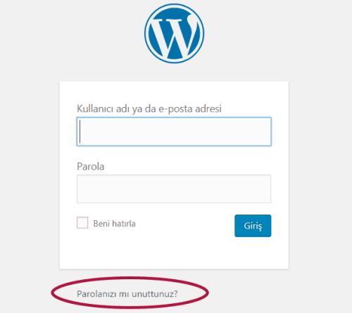 Wordpress Admin Paneli Parolamı Unuttum Linki