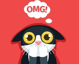 Cartoon image of a cat with its paws over its mouth and OMG! written in a thought bubble above its head