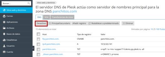 Desactivación del servicio DNS de Plesk