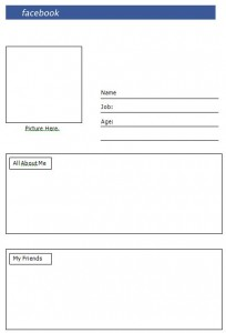 blank facebook page for school project
