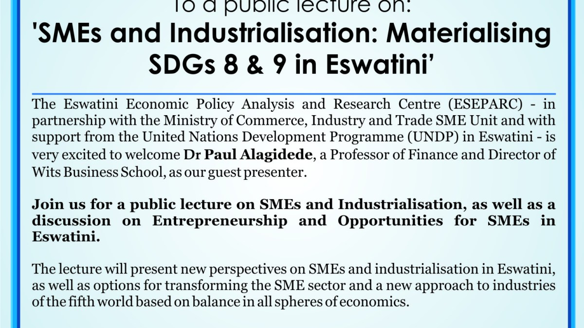 ESEPARC to host public lecture on SMEs and industrialisation
