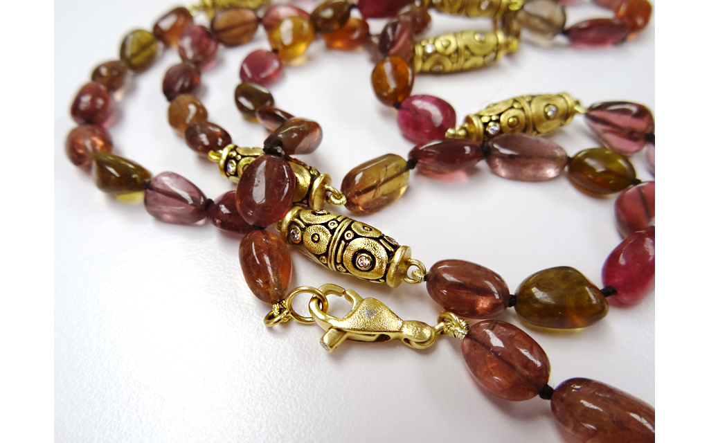 """Red tourmaline necklace with Šepkus """"Orchard"""" beads and lobster clasp"""