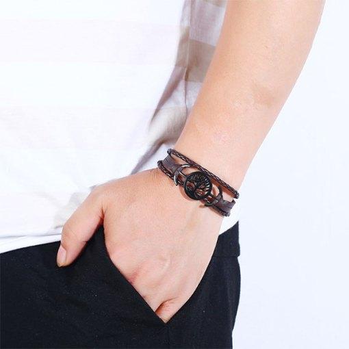 Bracelet Arbre de Vie Noir Amérindien