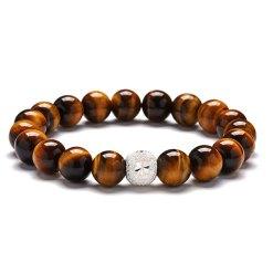 Bracelet Argent Oeil de Tigre Luxury 10mm