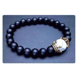 Bracelet Homme Perle Noir Mat
