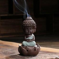 Bouddha Robe Bleu sur Porte-Encens