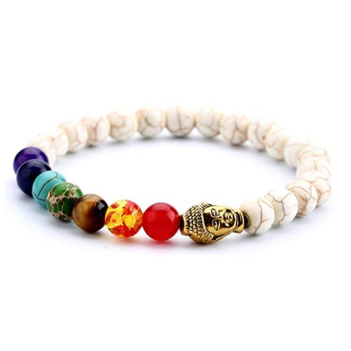 bracelet 7 chakras Tête de bouddha en turquoise blanche