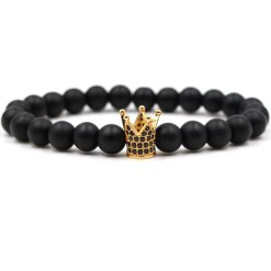 Bracelet Homme Perle Couronne Or