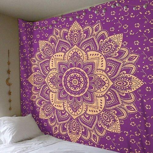 grande tenture murale violette