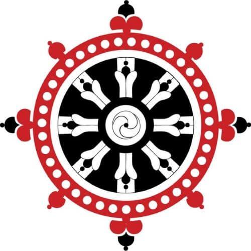 Symbole bouddhiste - la roue du dharma - dharmachakra