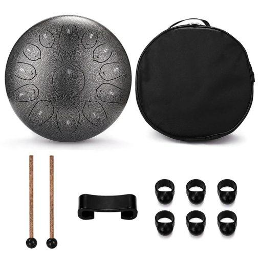 Tongue Drum 12 pouces noir - Sept Chakras