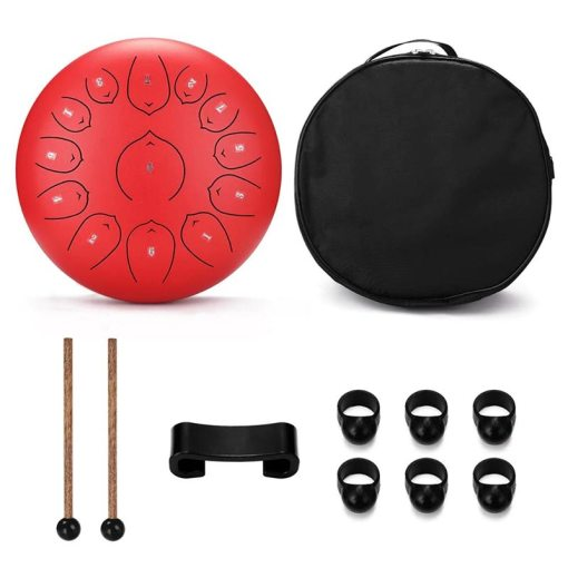 Tongue Drum 12 pouces rouge - Sept Chakras