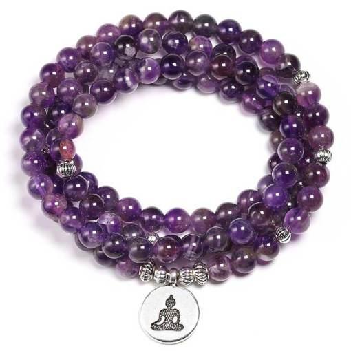 Bracelet Mala Améthyste - Mala Tibétain - Sept Chakras