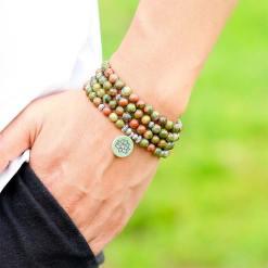 Bracelet Mala Pierre Verte - Mala Tibétain - Sept Chakras