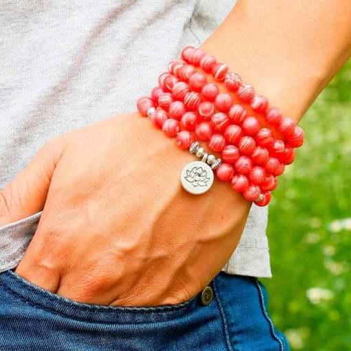 Bracelet Mala Rhodochrosite - Sept Chakras