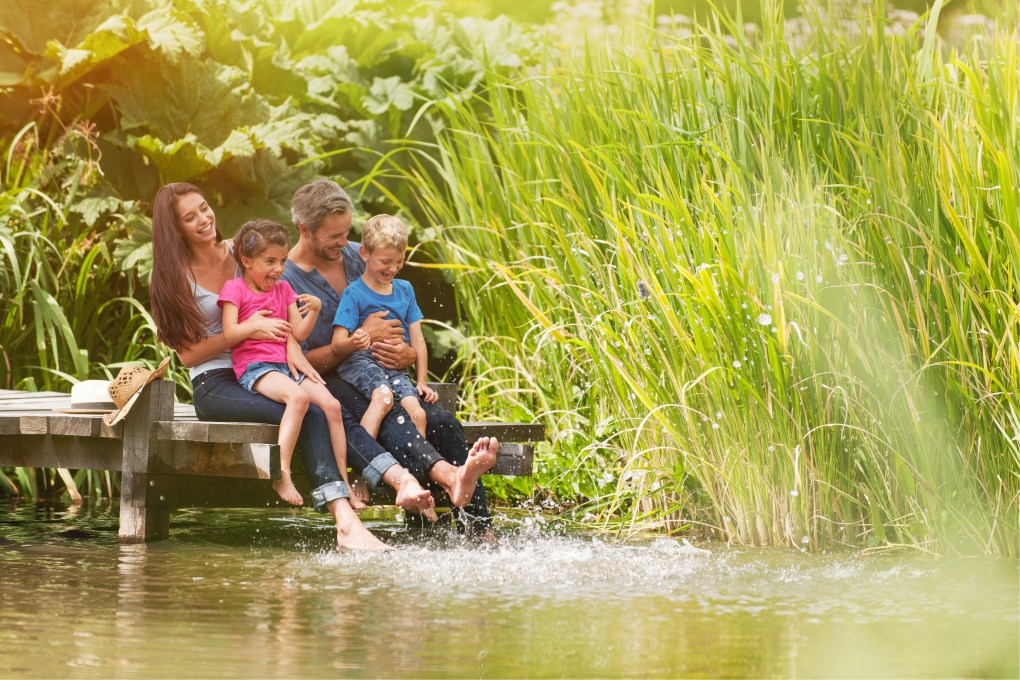 Happy Family By River With Septic Tank Converter
