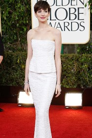 Actress Anne Hathaway arrives at the 70th annual Golden Globe Awards in Beverly Hills