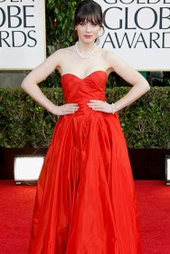 Actress Zooey Deschanel arrives at the 70th annual Golden Globe Awards in Beverly Hills