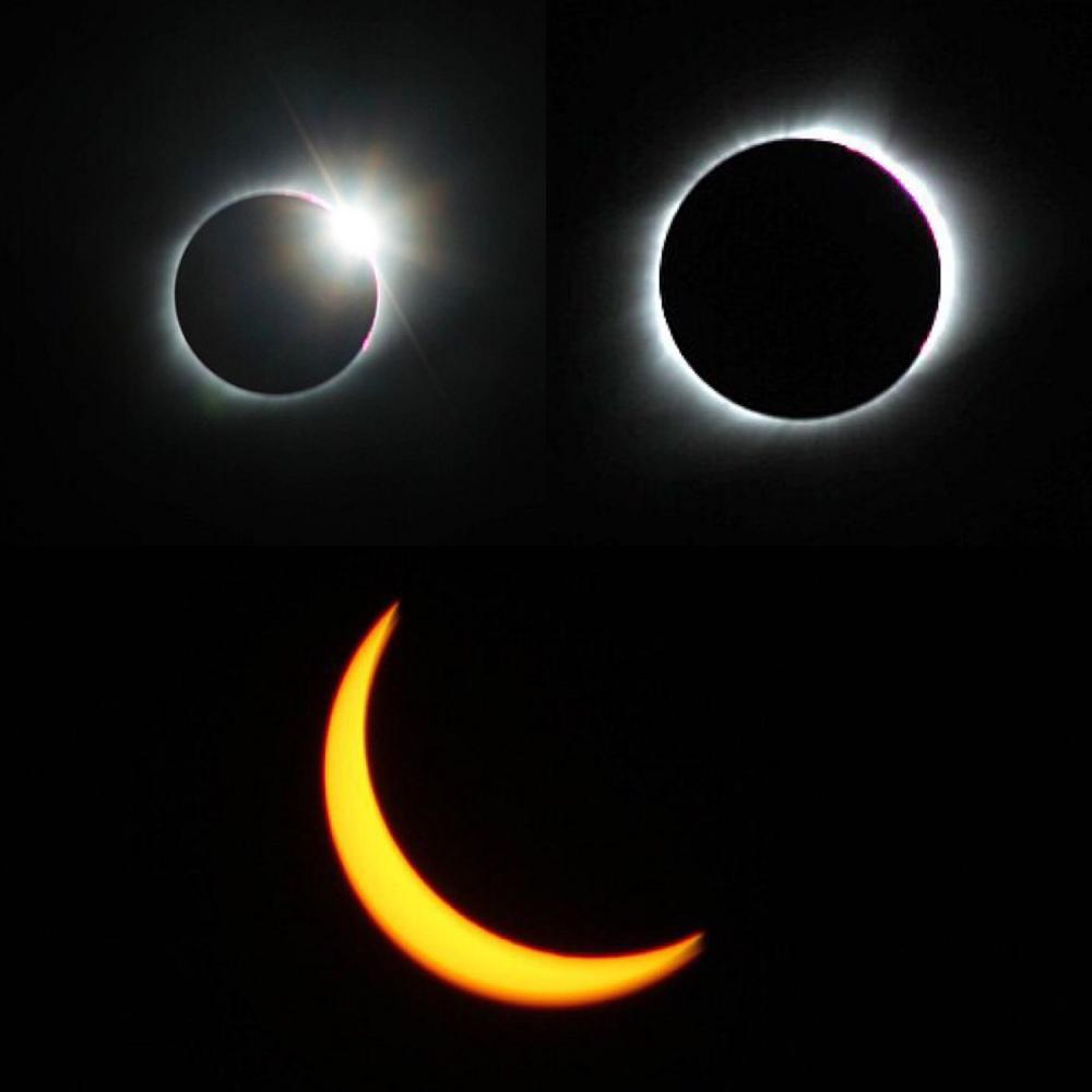 The view before totality (top left), during (top right), and after totality (bottom). Senior Jessica Lamberty traveled to Carbondale, IL. to witness totality during the eclipse on Monday, August 21.