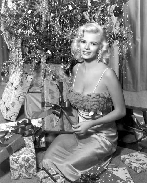 Jayne Mansfield displays her, um, Christmas spirit.