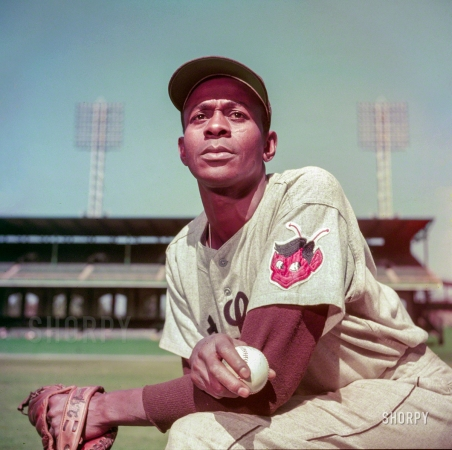 The great Negro League pitcher Satchel Paige in 1952 in the twilight of his career when he was playing for the St. Louis Browns.