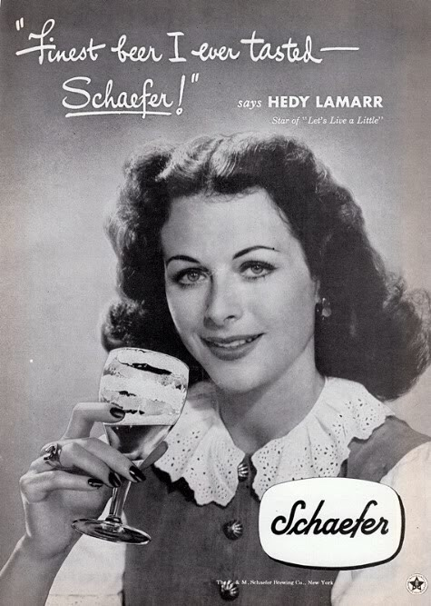Hollywood stars frequently earned extra income through product endorsements. Most stars carefully burnished their images associating with the right products. Call me crazy, but Hedy Lamarr — billed as the most beautiful woman in the world — and beer does not seem like a natural match. But Hedy earned and lost fortunes with alarming regularity. Thus I assume she grabbed whatever deal she could in order to maintain lavish lifestyle. In later years, she was arrested for shoplifting at
