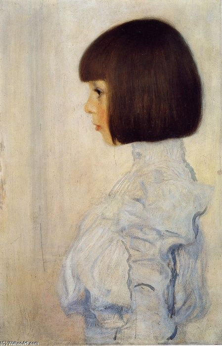 Portrait of Helene Klimt by Gustav Klimt 1898. Helene was his niece. Amazing how modern Helene looks with that pageboy haircut that was let made famous in Hollywood first by silent star Colleen Moore and then  Louise Brooks.