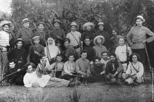 Members of Hashomer, a Jewish security organization dedicated to protecting pioneering Zionist settlements, pose with their rifles October 1, 1900 in the community of Rehovot during the Ottoman rule of Palestine in what would later become the State of Israel.