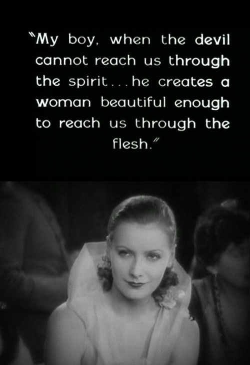 Garbo and intertitle from Flesh and the Devil, 1927.
