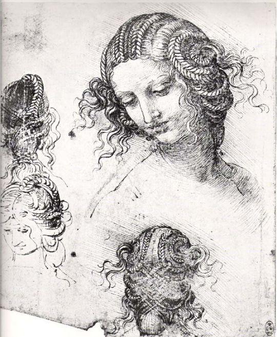Four studies of Leda by Leonardo Da Vinci.