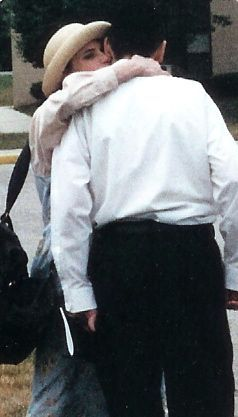 Karen hugs Ariel on his first day as a student at Ner Israel Rabbinical Academy, Baltimore, 1998.