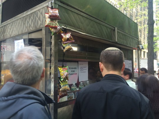 Kosher for Passover Pop-Up Food Cart, Midtown Manhattan, April 27, 2016. Photo by Robert J. Avrech.