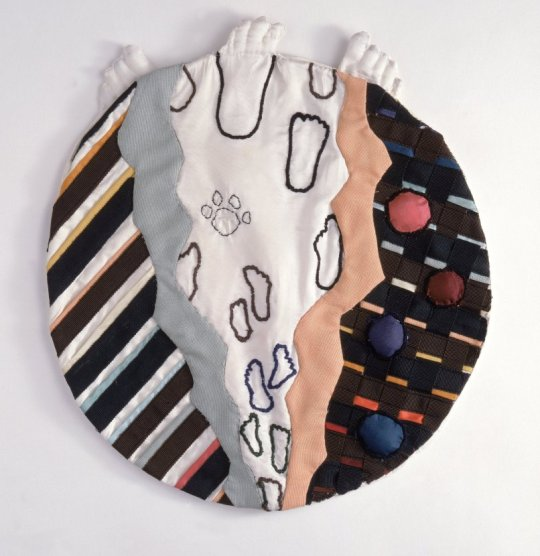 Matzah Bag Steps Jet Naftaniel-Joëls, Dutch, b. 1950 Netherlands, 1993 Synthetic fabric and muslin lining, embroidered, and appliqué Diameter: 12 1/2 in. (31.8 cm)