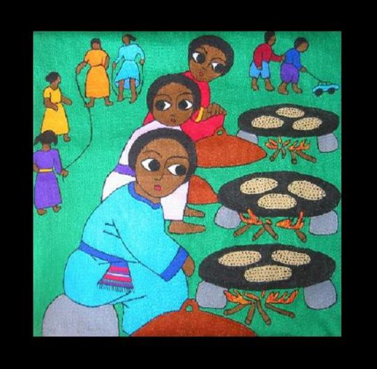 Ethiopian Jewish embroidery of Jews baking matzoh.
