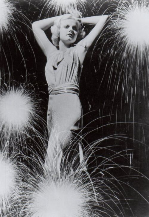 Jean Harlow exploded onscreen as the blond the first bombshell. This is one of the few July 4th photos I've come across that utilizes a double exposure.