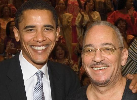 Barack Obama with his mentor and spiritual advisor Jeremiah Wright.