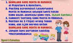 Kuis Game Menta in Romance Berhadiah Pulsa Total 500K