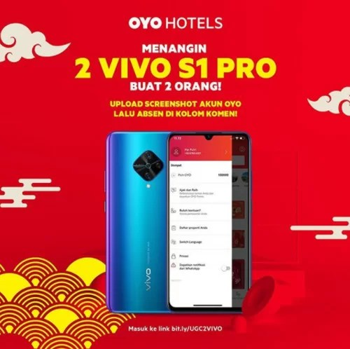 Kuis Screenshot Akun OYO Hotels Berhadiah 2 unit VIVO S1 Pro
