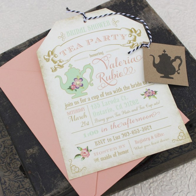 Tea Party Bridal Shower Invitations With Delightful Appearance For Wedding Invitation Design Ideas 19