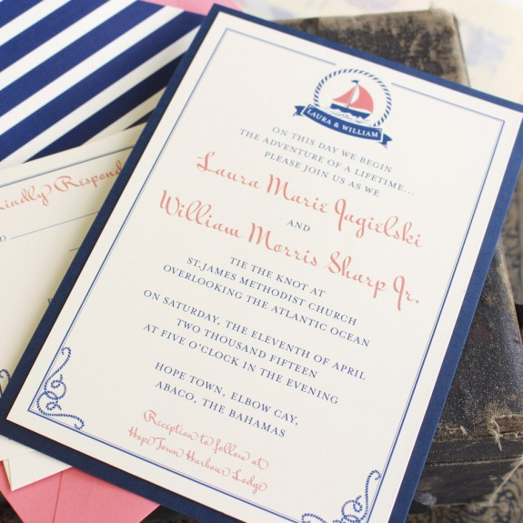 Nautical Themed Invitations In Navy And Ivory