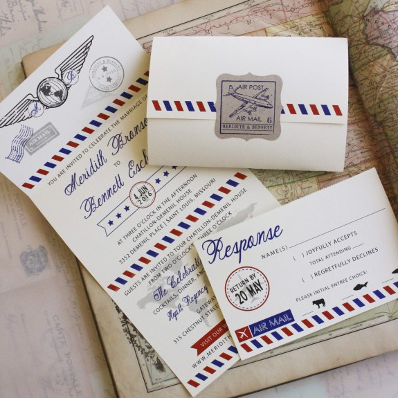 Self Mailer Wedding Invitation Our Air Mail Seal And Send