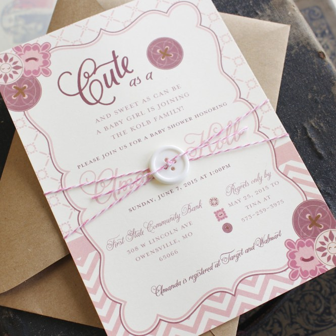 Cute As A On Baby Shower Invitation